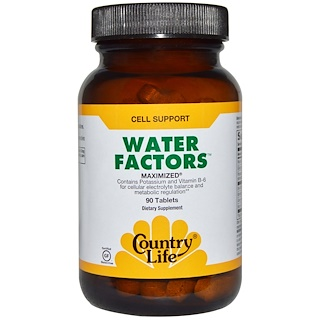 Country Life, Water Factors, Maximized, 90 Tablets