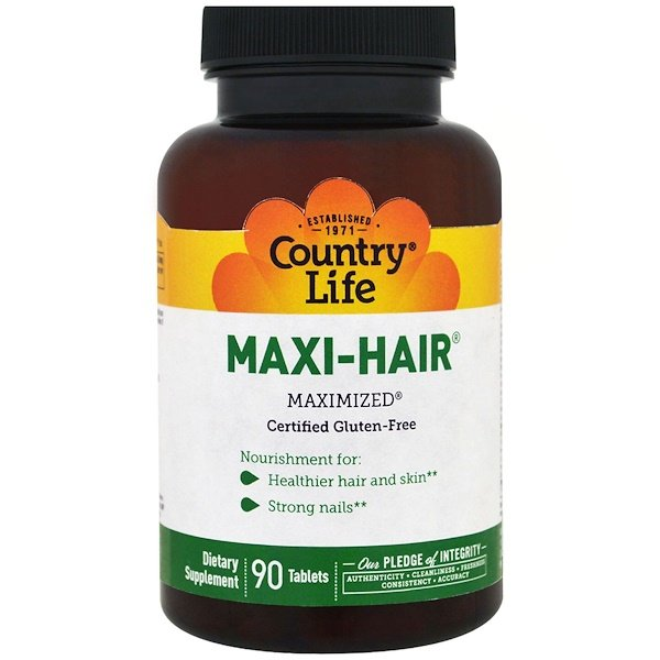 Country Life, Maxi Hair, 90 tabletas
