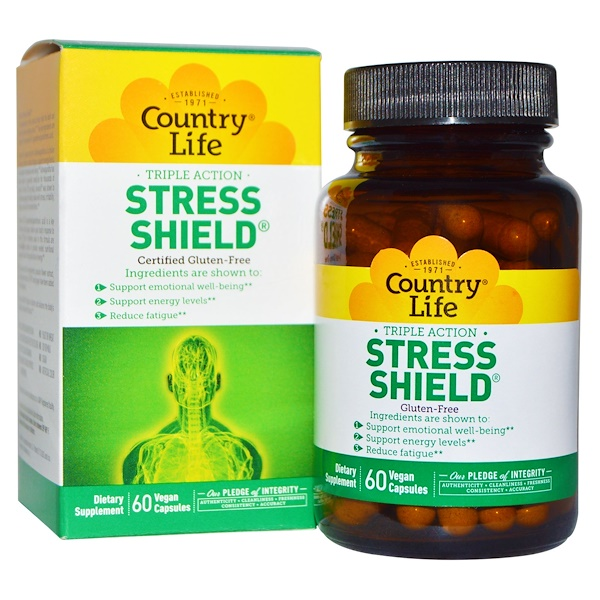 Country Life, Stress Shield, Triple Action, 60 Vegan Caps