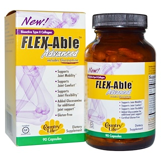 Country Life, Flex Able Advanced, Includes Glucosamine, Bioactive Type II Collagen, 90 Capsules