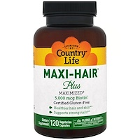 Maxi Hair Plus, 5,000 мкг, 120 растительных капсул - фото