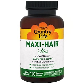 Country Life, Maxi Hair Plus, 5.000 mcg, 120 cápsulas vegetarianas