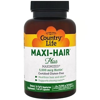 Country Life, Maxi Hair Plus, 5,000 mcg, 120 베지 캡스