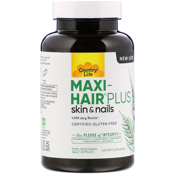 Country Life, Maxi Hair Plus, 5,000 mcg, 120 Vegetarian Capsules