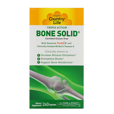 Купить Country Life Triple Action Bone Solid, 240 капсул