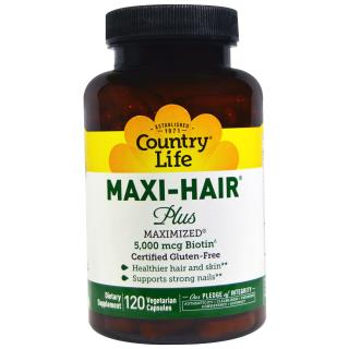 Country Life, Maxi Hair Plus, 120 Veggie Caps