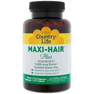 Country Life, Maxi Hair Plus, 120 Vegetarian Capsules