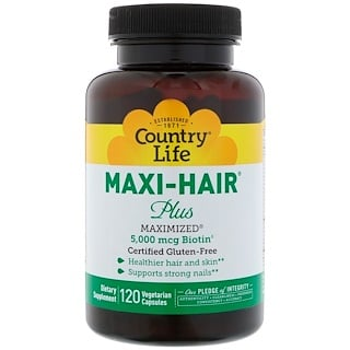 Country Life, Maxi Hair Plus, 5,000 mg, 120 Vegetarian Capsules