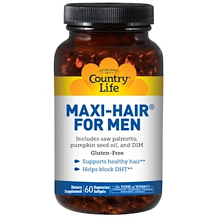 Country Life, Maxi Hair for Men, 60 Softgels