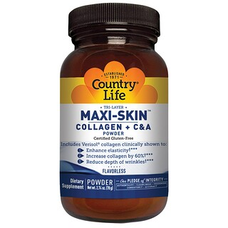 Country Life, Maxi-Skin Collagen + C & A Powder, Flavorless, 2.74 oz (78 g)