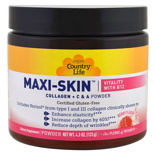 Country Life, Maxi-Skin, Vitality with B12, Berry Flavor, Powder, 4.3 oz (123 g) (Discontinued Item)