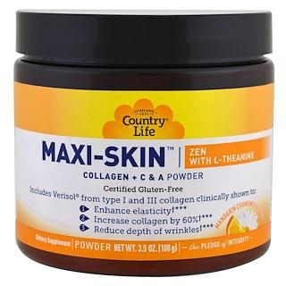 Country Life, Maxi-Skin L-테아닌 함유 젠, 만다린 카밀러 맛, 분말, 3.5 oz (100 g)