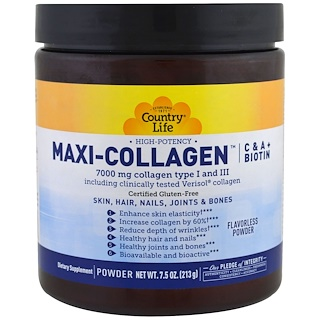 Country Life, Maxi-Collagen, C & A plus Biotin, High Potency, Flavorless Powder, 7.5 oz (213 g)