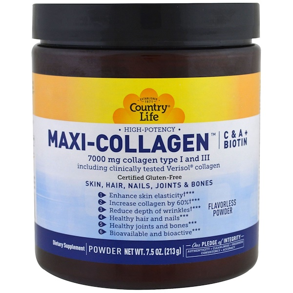 Maxi-Collagen, C & A plus Biotin, High Potency, Flavorless Powder, 7.5 oz (213 g)