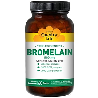 Country Life, Bromelain, Triple Strength, 500 mg, 60 Tablets