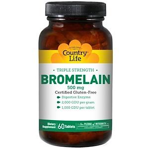 Country Life, Бромелайн, тройная сила, 500 мг, 60 таблеток