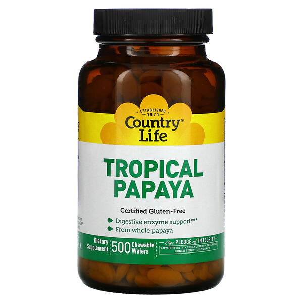 Tropical Papaya, 500 Chewable Wafers