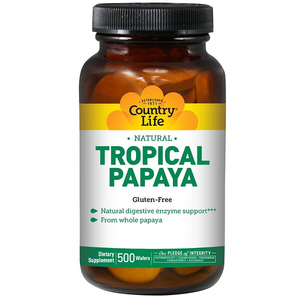 Country Life, Natural, Tropical Papaya, 500 Wafers