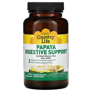 Country Life, Papaya Digestive Support, Pineapple Papaya, 500 Chewable Wafers