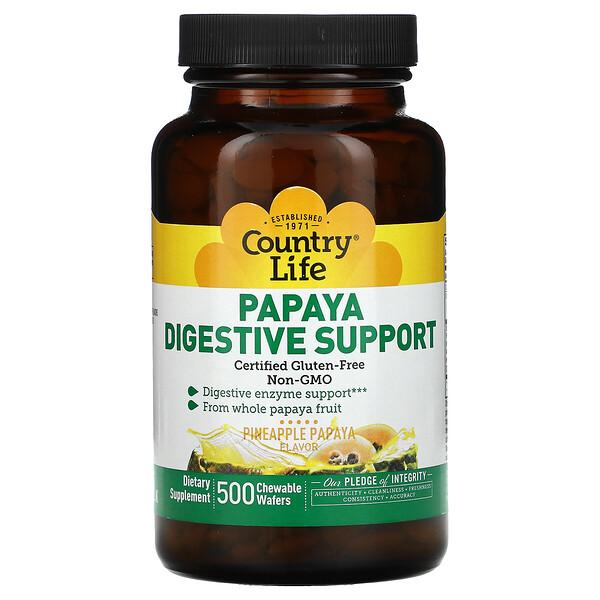 Papaya Digestive Support, Pineapple Papaya, 500 Chewable Wafers