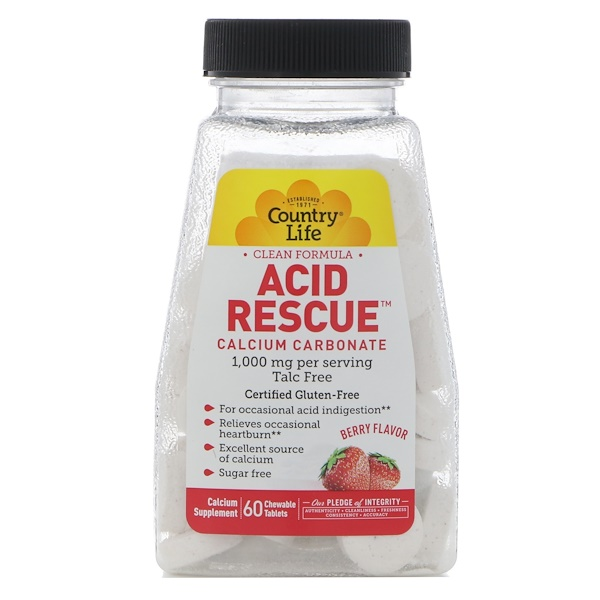 Country Life, Acid Rescue, Calcium Carbonate, Berry Flavor, 1,000 mg, 60 Chewable Tablets