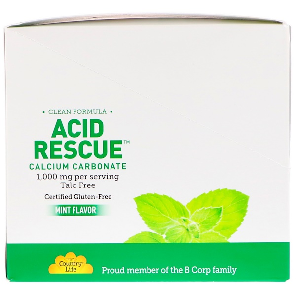 Country Life, Acid Rescue Calcium Carbonate, Mint Flavor, 1,000 mg (20-4 Chewable Tablet Packets) (Discontinued Item)