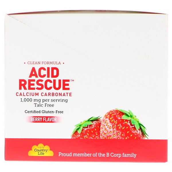 Country Life, Acid Rescue Calcium Carbonate, Berry Flavor, 1,000 mg, 20 Packets, 4 Chewable Tablets Each (Discontinued Item)