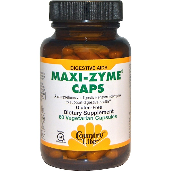 Country Life, Maxi-Zyme Caps, 60 Vegetarian Capsules (Discontinued Item)