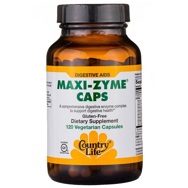 Country Life, Maxi-Zyme Caps, 120 Vegetarian Capsules