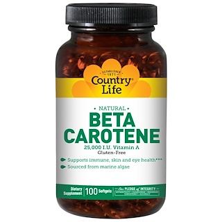 Country Life, Beta Carotene, 100 Softgels