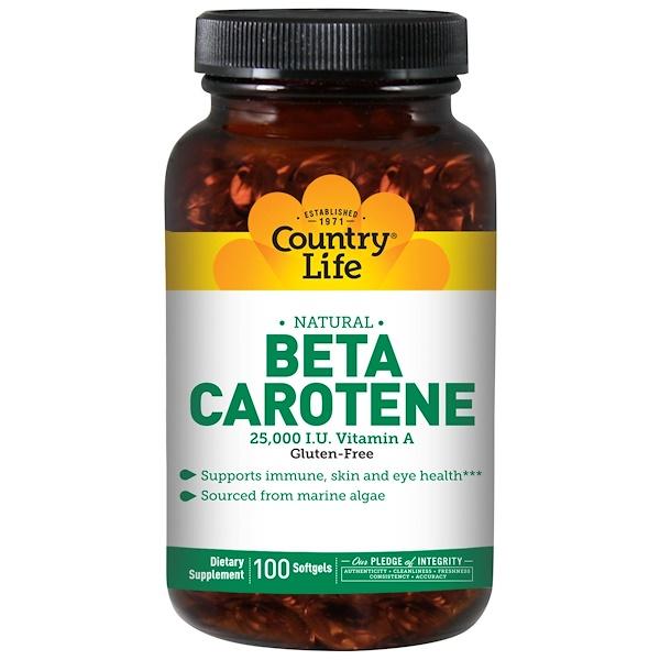 Country Life, Бета-каротин (Beta Carotene), 100 мягких таблеток