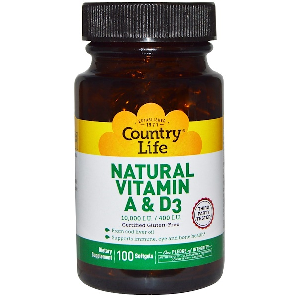 Country Life, Natural Vitamin A & D3, 10,000 IU/400 IU, 100 Softgels (Discontinued Item)