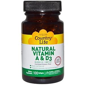 Кантри Лайф, Natural Vitamin A & D3, 10,000 IU/400 IU, 100 Softgels отзывы