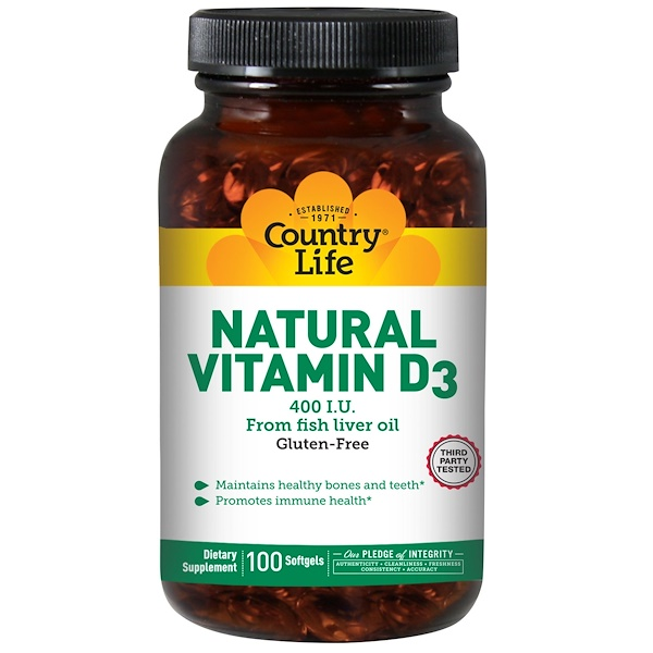 Country Life, Natural Vitamin D3, 400 IU, 100 Softgels