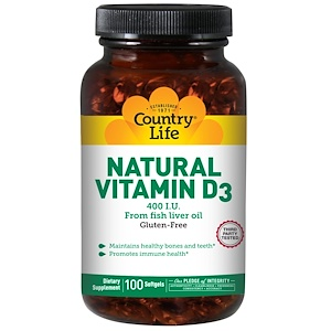 Country Life, Натуральный витамин D3, 400 МЕ, 100 капсул
