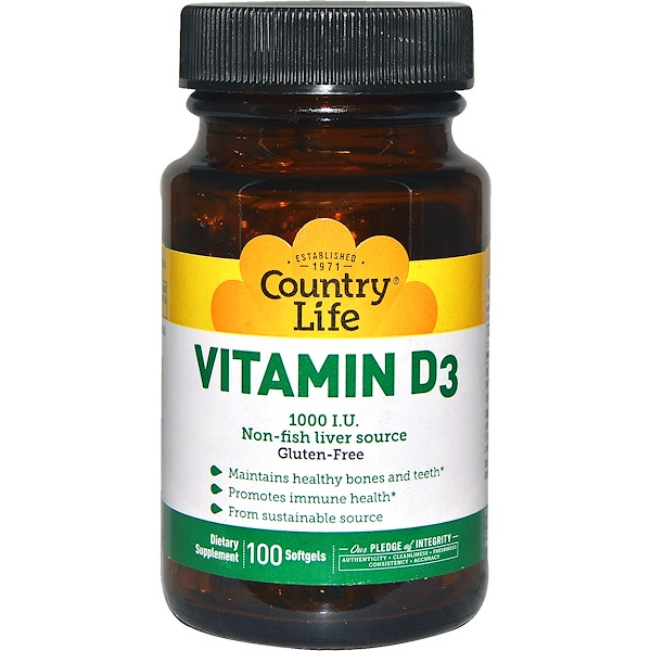 Country Life, Vitamin D3, 1000 IU, 100 Softgels