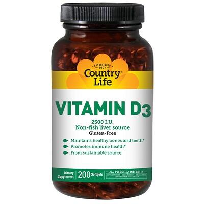 Country Life витамин D3, 2500 МЕ, 200 мягких желатиновых капсул  - купить со скидкой