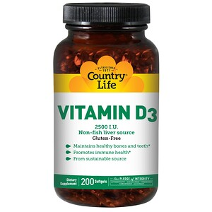 Country Life, Витамин D3, 2500 МЕ, 200 желатиновых капсул