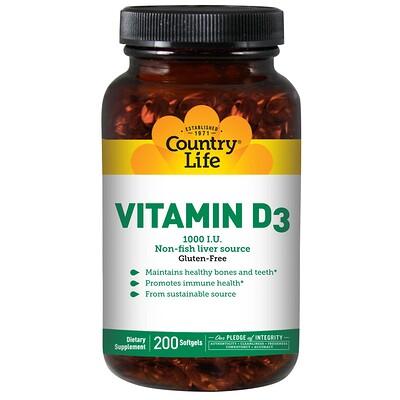 Купить Country Life Витамин D3, 1000 МЕ, 200 желатиновых капсул