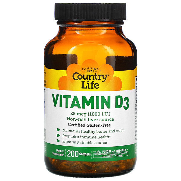 Vitamin D3, 25 mcg (1,000 I.U.), 200 Softgels