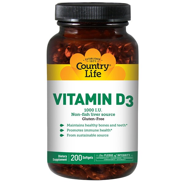 Vitamin D3, 1000 IU, 200 Softgels