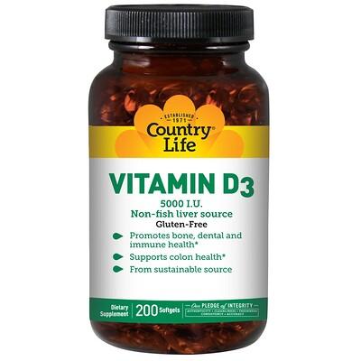 Купить Витамин D3, 5000 МЕ, 200 желатиновых капсул