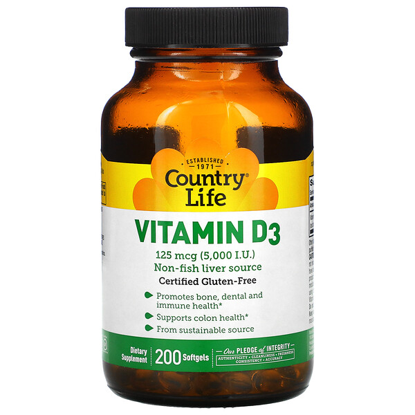 Vitamin D3, 125 mcg (5,000 IU), 200 Softgels