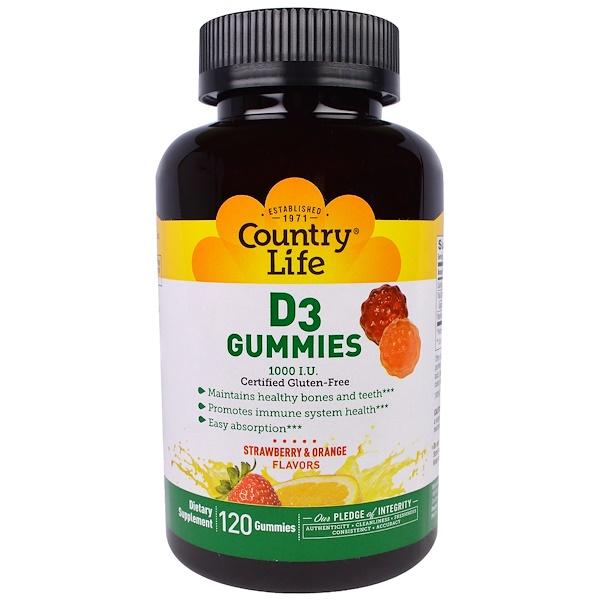 Country Life, D3 Gummies, Strawberry & Orange Flavors, 1000 I.U., 120 Gummies (Discontinued Item)