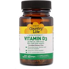 Country Life, Витамин D3, высокоэффективный, 10000 МЕ, 200 таблеток