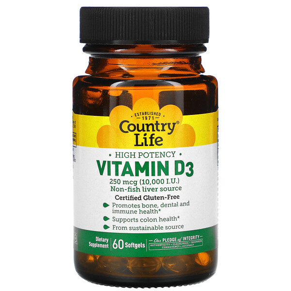 Vitamin D3, High Potency, 250 mcg (10,000 IU), 60 Softgels