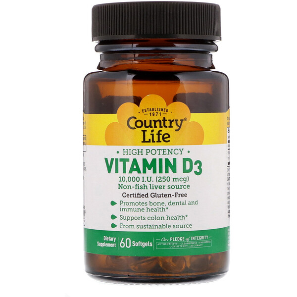 Country Life, High Potency Vitamin D3, 250 mcg (10,000 IU), 60 Softgels