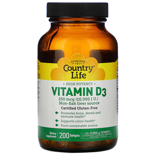 High Potency Vitamin D3, 250 mcg (10,000 IU), 200 Softgels