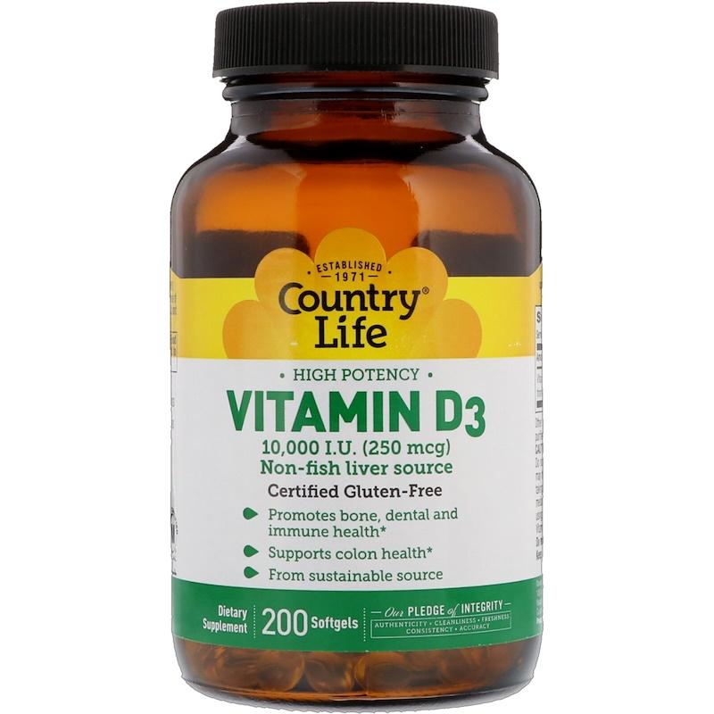 High Potency Vitamin D3, 250 mcg (10,000 IU), 200 Softgels