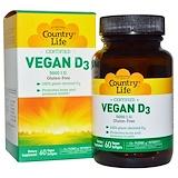 Отзывы о Country Life, Веганский D3, 5000 МЕ, 60 веганских мягких таблеток